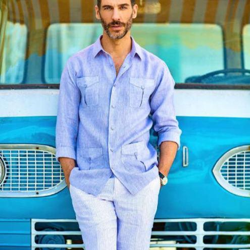keten-pantolon-gömlek-kombinleri-erkek