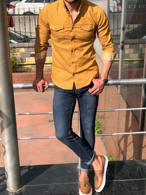 kot-pantolon-gömlek-kombini